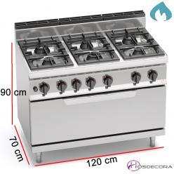 Cocina a Gas + Horno Fondo 70- 6 Fuegos 3.5 y 7 KW-G7F6+T
