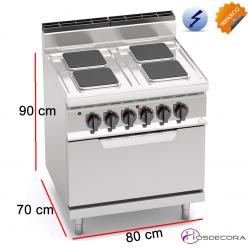 Cocina Eléctrica + Horno Fondo 70- 4 Fuegos 17.9 KW