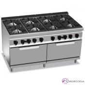 Cocina a Gas + 2 Hornos - 8 Fuegos 12, 7 y 3.5 KW