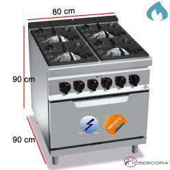 Cocina a Gas + Horno Fondo 90- 4 Fuegos 12, 3.5 y 7 KW
