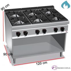 Cocina a Gas Fondo 90- 6 Fuegos 12, 7 y 3.5 KW