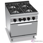 Cocina a Gas + Horno Fondo 90- 4 Fuegos 12, 7 y 3.5 KW