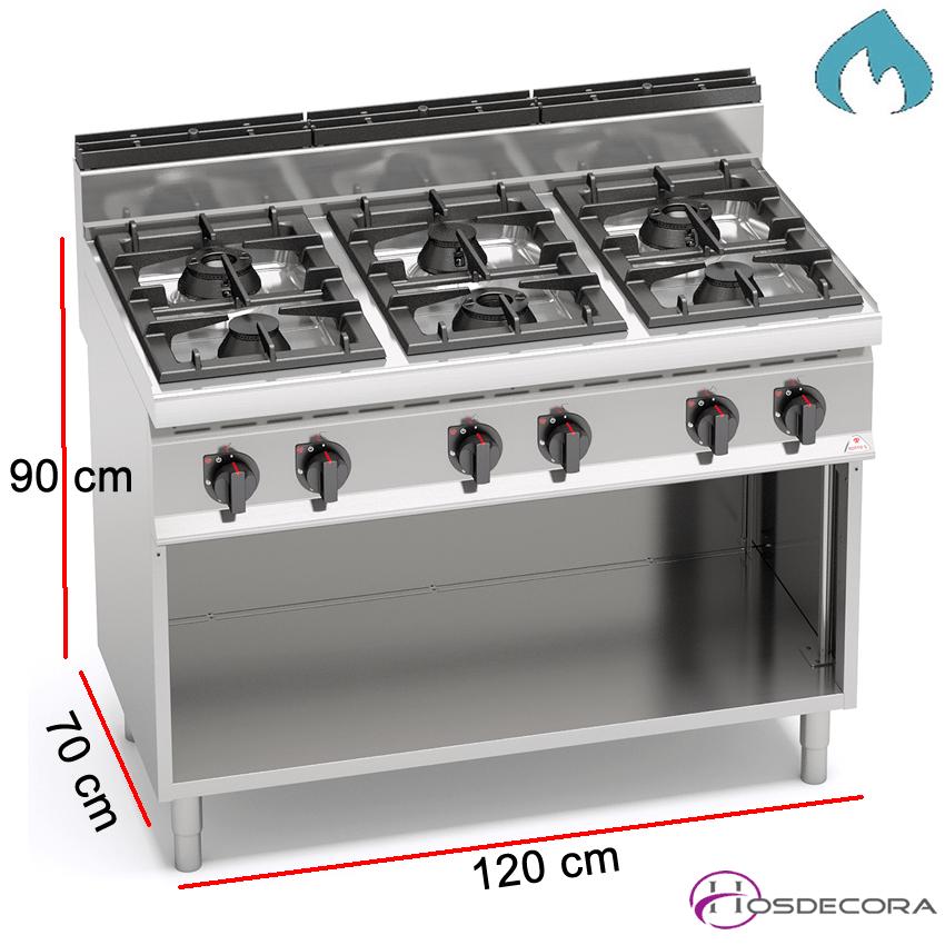 Cocina a Gas Fondo 70- 6 Fuegos 3.5 y 7 KW-G7F6M