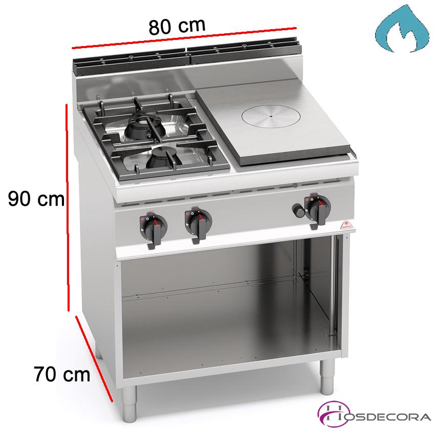 Cocina a Gas con Placa Fondo 70- 2 Fuegos 3.5 y 7 KW-G7T4P2FM