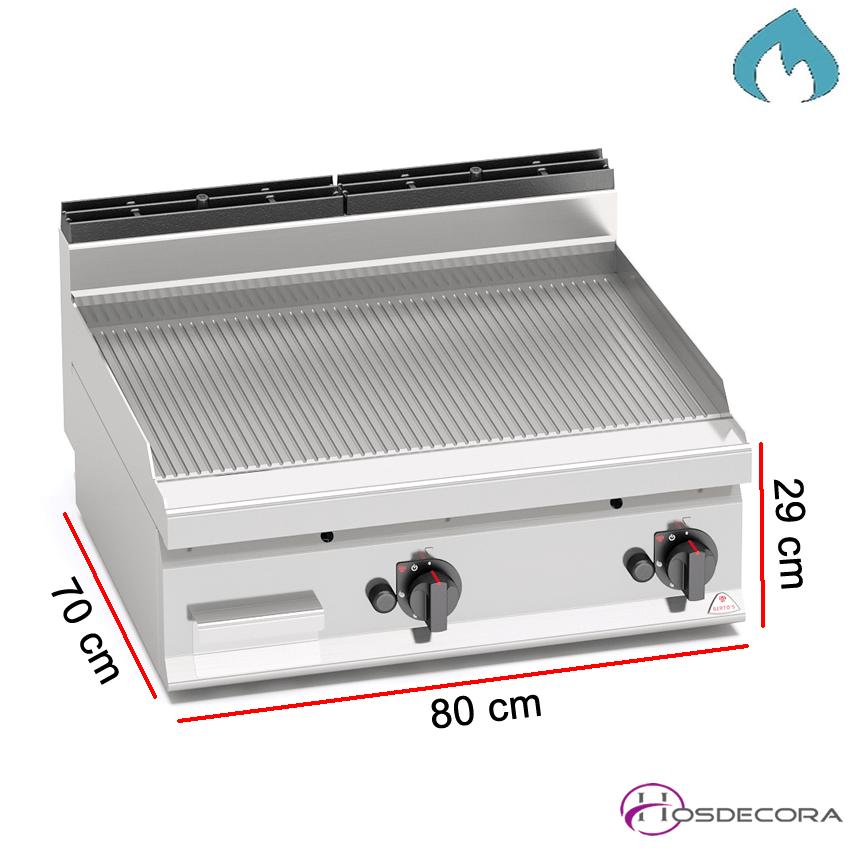 Fritop a Gas de asar Acero  10.8 KW- 7 mm.
