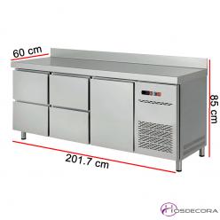 Mesa refrigerada con cajones y puerta de 201x60 cm