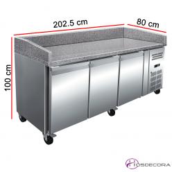 Mesa preparación pizzas Euronorm Fondo 80 encimera granito