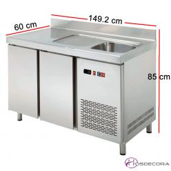 Mesa refrigerada con fregadero de 149 x 60 cm 47-MRCH150F