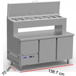 Mesa fría para ensalada con cubetas