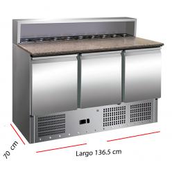Mesa refrigerada con cubetas 8 GN para ingredientes.