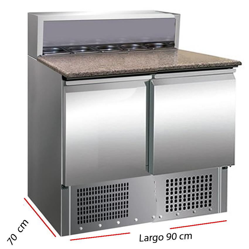 Mesa refrigerada con 5 cubetas GN para ingredientes.