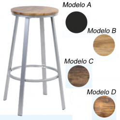 Taburete alto para bar metalico con asiento pvc en colores