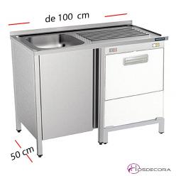 Fregadero pequeño con puerta para poner debajo el lavavasos.