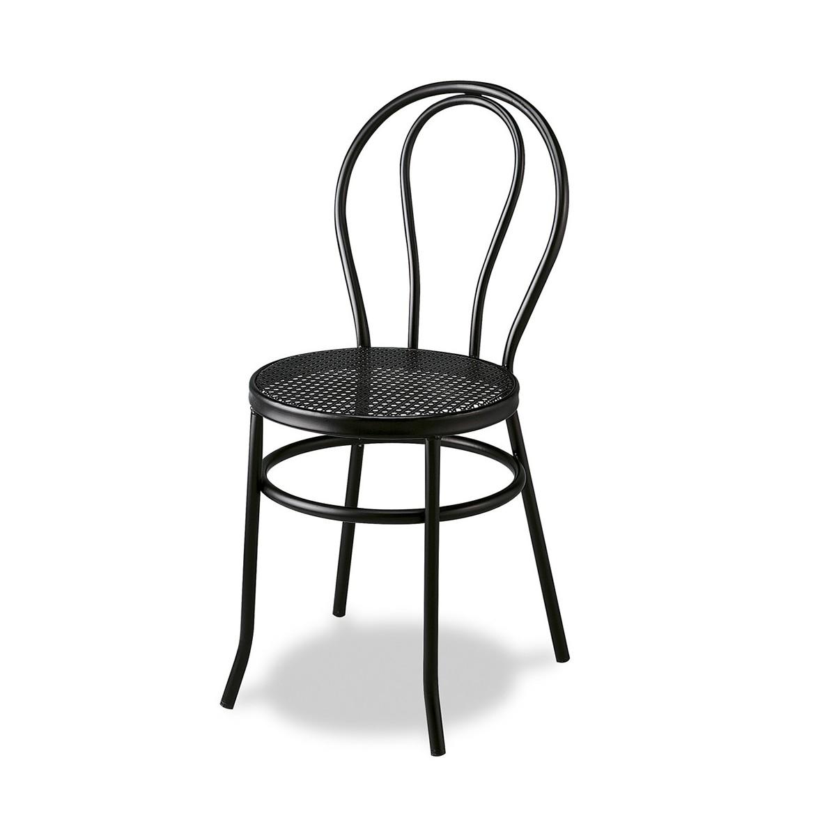 Silla de restaurante con asiento de rejilla met lica thonet - Silla metalica apilable ...
