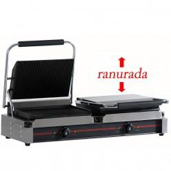 Plancha grill doble 34 x 23 cmx 2 -4.4 kw - ranurada 16GR340x2RR