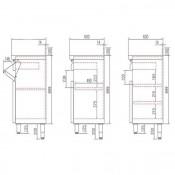Mueble de barra cafetero Inox 990x600x1040