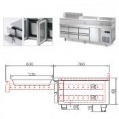 Mesa Refrigerada BAJO COCINA con puertas Altura 600