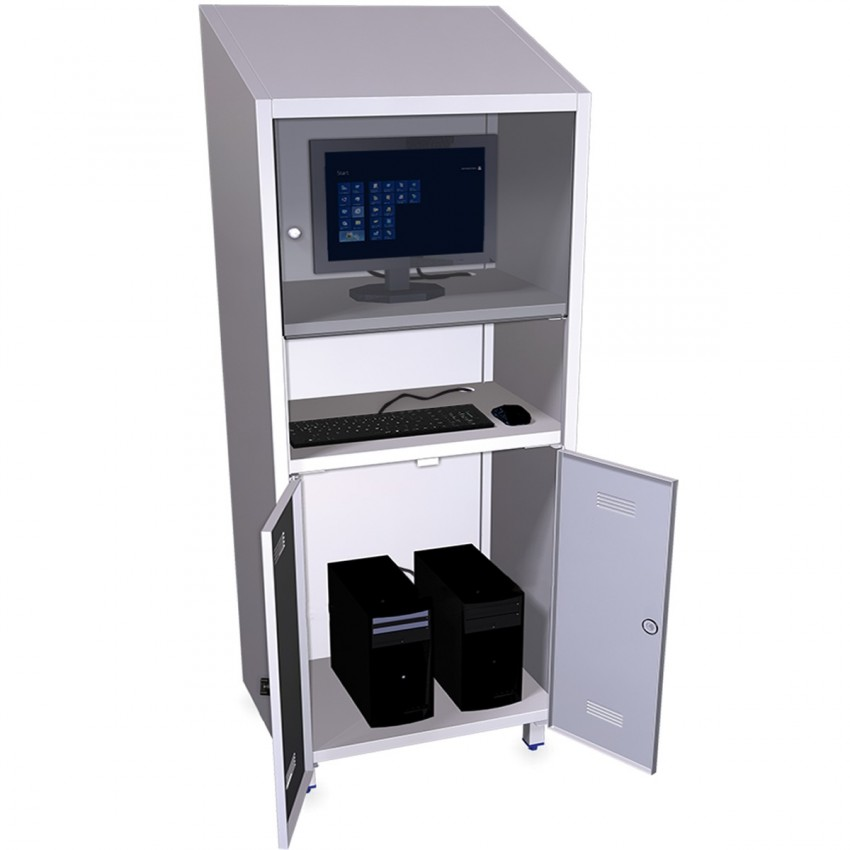 Armario para equipos informaticos en acero inox con for Armario platero cocina