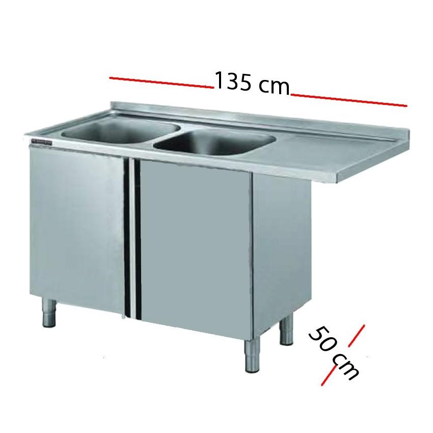 Fregadero para lavavajillas 135 x 50 cm -2 pozas