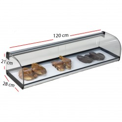 Vitrina Neutra cristal con puertas 1000x280x210 - Plata.