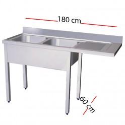 Fregadero para lavavajillas 180 x 70 cm -dos cubas