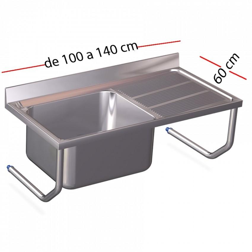 Fregadero inox colgante de 80 o 100 x 50 cm de fondo