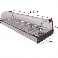 Vitrina Caliente Inox 6GN 1/3x40 Baño-maria 1000W-C6X
