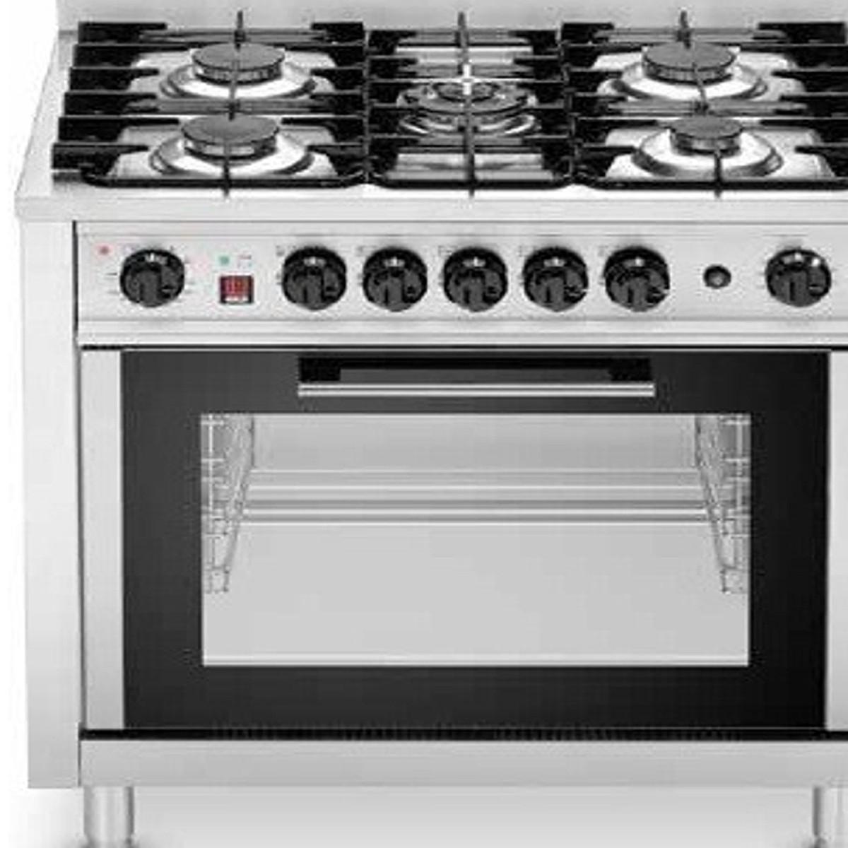 Cocina industrial a gas con 5 fuegos y horno trifasico for Cocinas con horno electrico