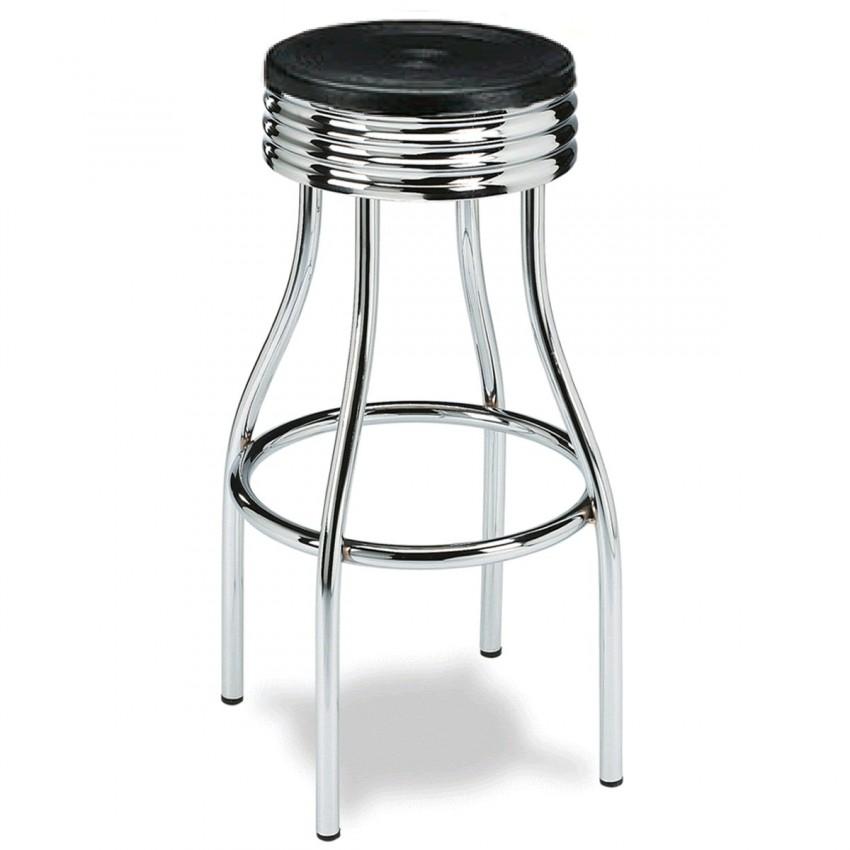 Tamburete alto con asiento redondo y patas cromadas de bar santurtzi - Asientos para taburetes ...