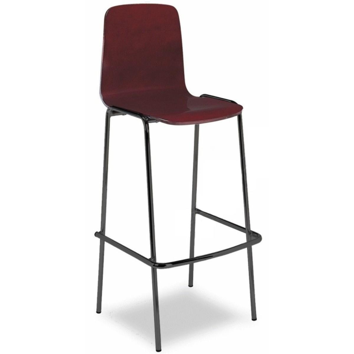 Taburete bar aluminio con respaldo y asiento en madera - Taburete madera bar ...