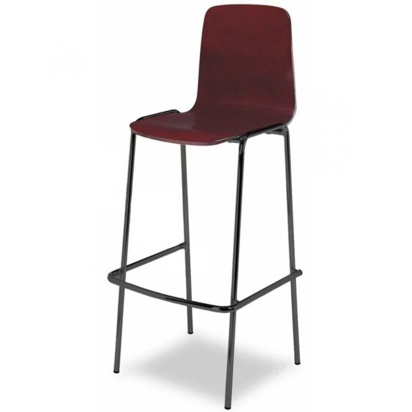 Taburete bar aluminio con respaldo y asiento en madera for Taburete bar madera