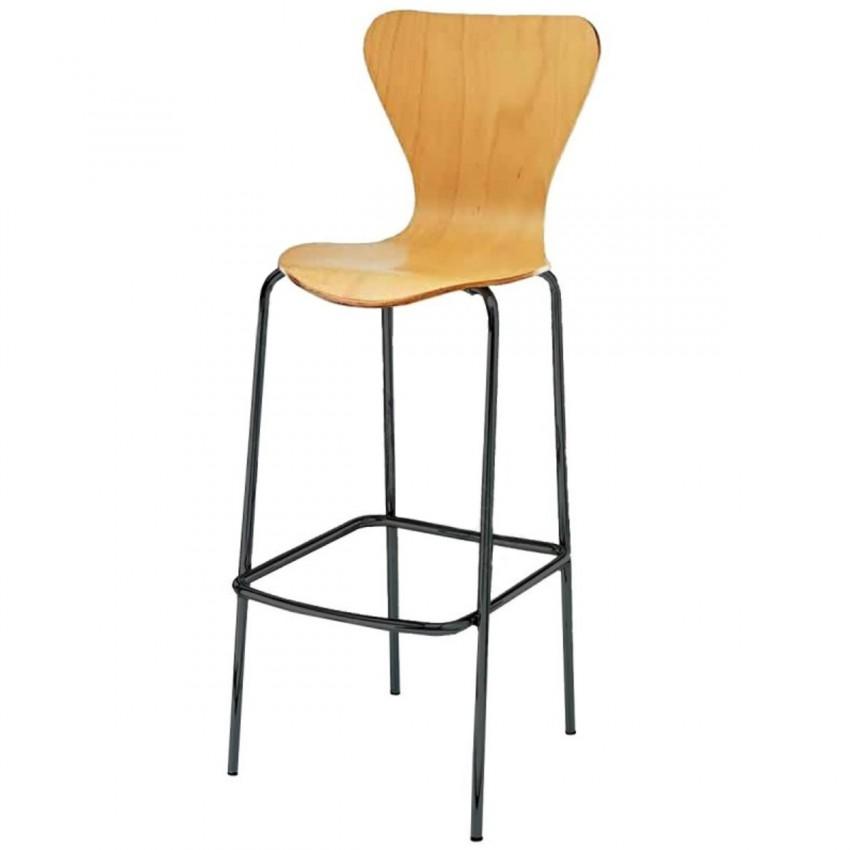 Taburete alto aluminio con respaldo y asiento en madera - Asientos para taburetes ...