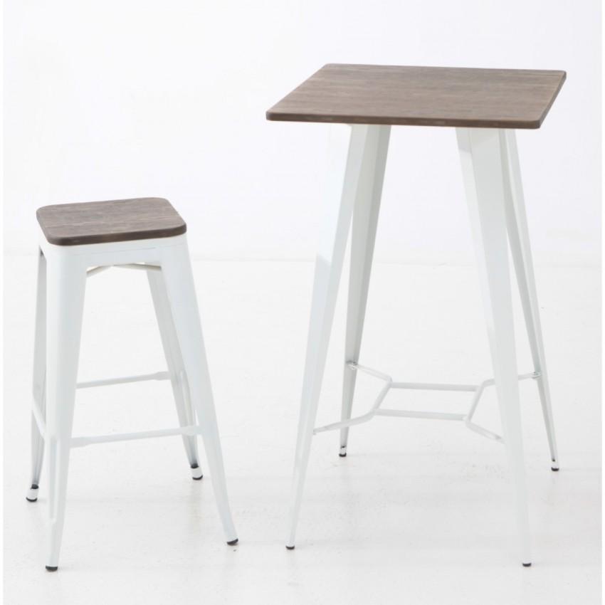 Mesa de madera alta borja para taburetes de bar uso interior for Mesas de madera para bar