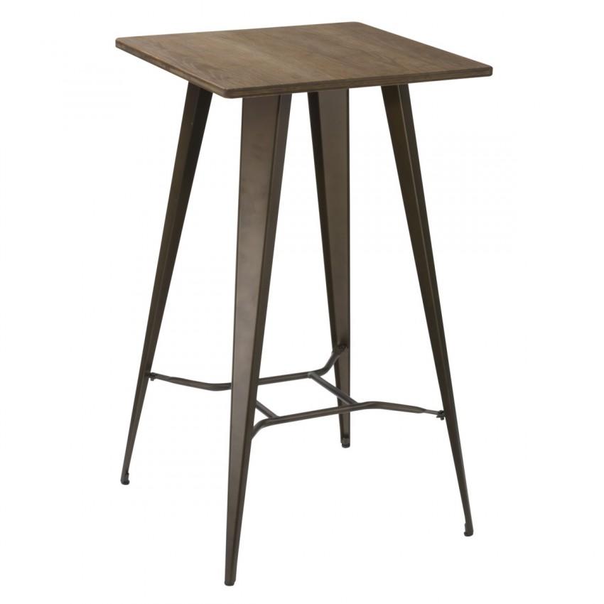 Mesa de madera alta borja para taburetes de bar uso interior for Mesas de madera bar