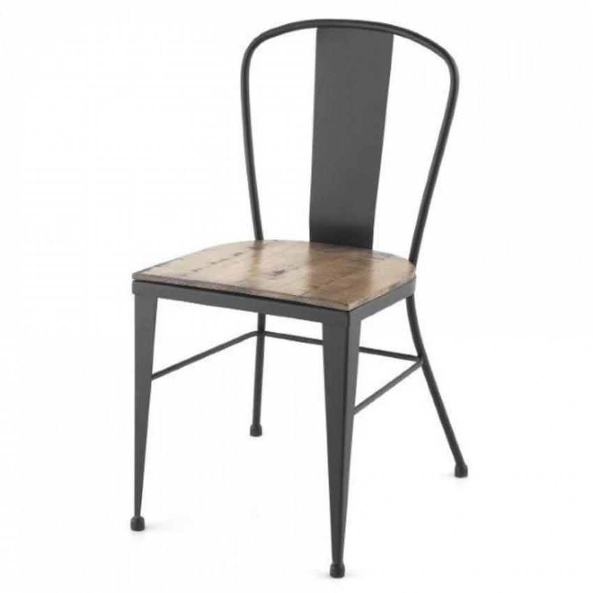Silla de forja para bares albolote con easiento madera de for Sillas de forja para comedor