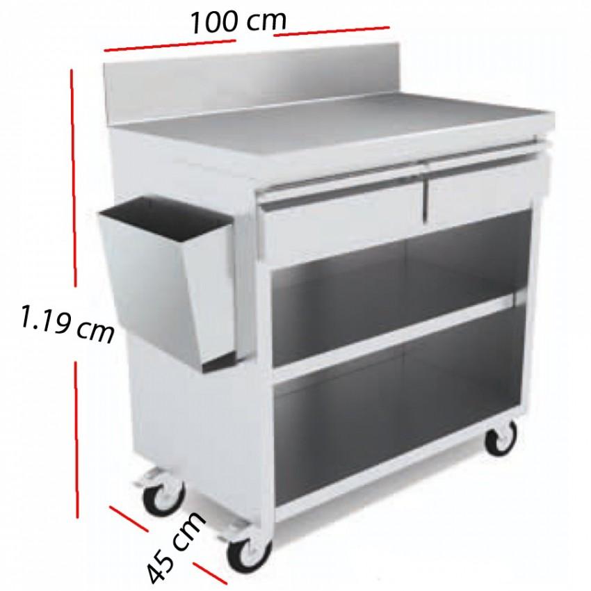 Mesa Servicio Camarero Inox 100x45 cm - MT-1045 C