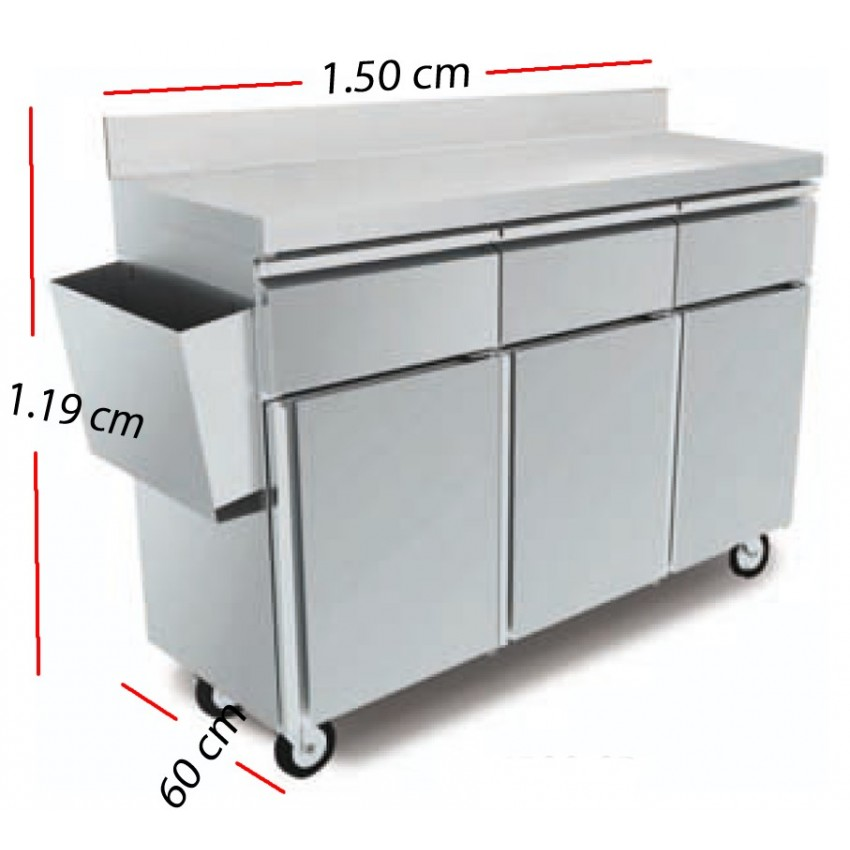 Mesa Servicio Camarero Inox 100x45 cm - MT-1045 CP