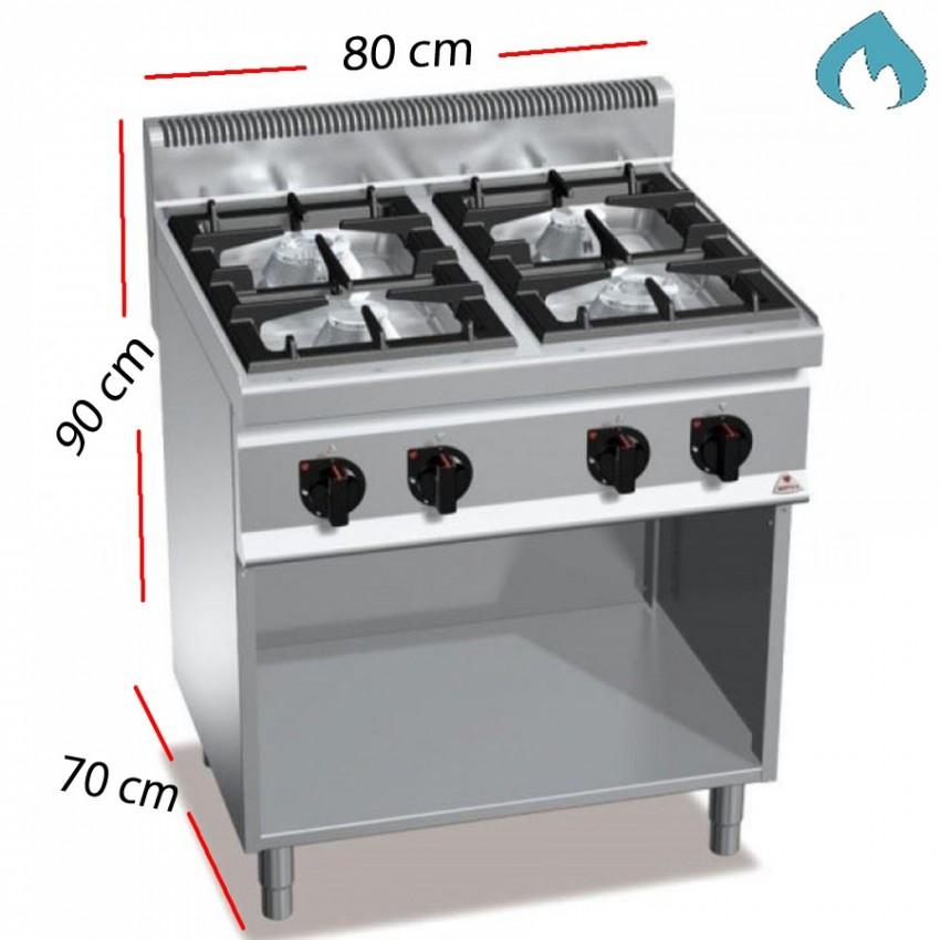Cocina a Gas Fondo 70 - 4 Fuegos 7 Kw y 3.5 kW. G7F4M