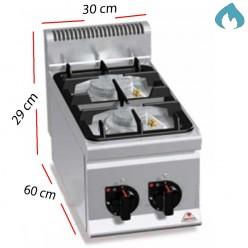 Cocina a Gas sobremesa 2 Fuegos 2x 9.5 Kw. industrial
