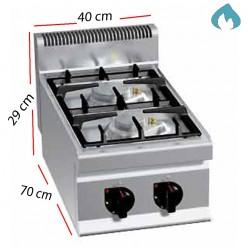 Cocina a Gas Fondo 70 - 2 Fuegos 7 Kw y 3.5 kW. G7F2B