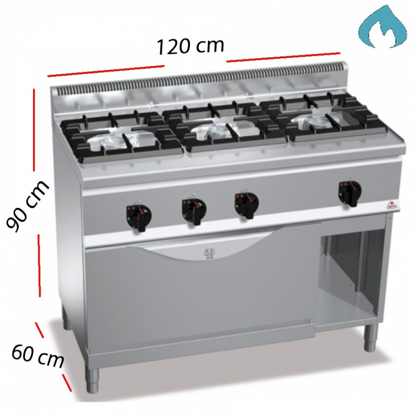 Cocina a Gas + Horno 3 Fuegos 37 Kw. industrial
