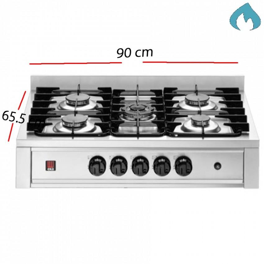 Encimera de gas con 5 Fuegos 90 X 65.5 cm- 14.3 Kw