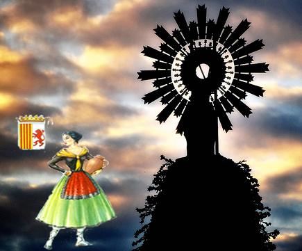 Virgen del pilar con el fondo con nubes