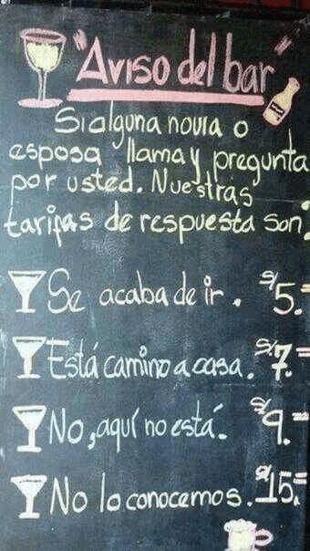 avisos del bar