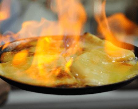 cocinado de crepe